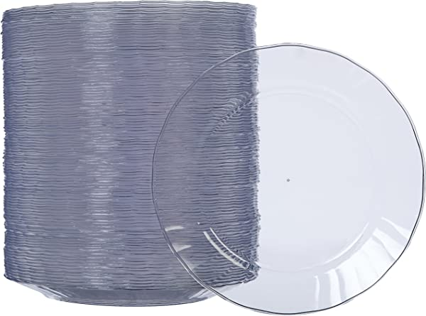 AmazonBasics Disposable Clear Plastic Plates 100 Pack 7 5 Inch