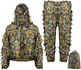 Ghillie Suit Children Child Kids Youth 3D Leaf Realtree Camo Camouflage Lightweight Clothing Suits for Jungle Hunting, CS Game, Airsoft, Wildlife Photography or Halloween