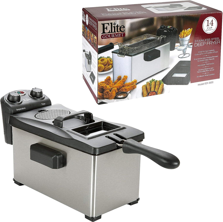 Elite Gourmet EDF-3500 Maxi-Matic Large Ranking TOP5 discharge sale 3.5 Deep Quart Stainles Fryer