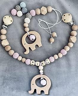 Kinderwagenkette Babyschale Anhänger Maxi Cosi  Mit Namen Set ★ Elefant Rosa
