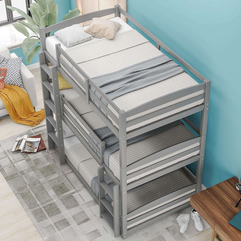 Buy Merax Solid Wood Twin Triple Bunk Bed Separable No Box Spring Needed Gray Online In Nigeria B08y8qyx1k
