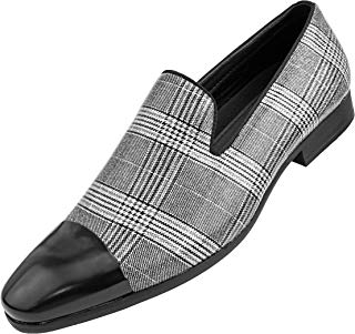 Amali The Original Men's Sparkly Black and White Plaid Shimmering Slip On Loafer with Black Metal Toe Dress Shoe, Style Basset
