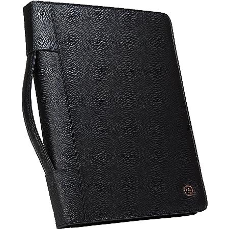 Case-It portadocumentos Ejecutivo con cierre con 3anillas y bloc de notas tamaño carta, desmontable, color negro, Almohadilla - 40, Negro