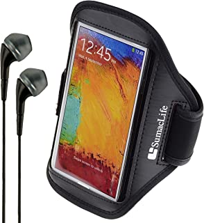 SumacLife Matte Leather Workout Armband for Microsoft Lumia 640 XL, Nokia Lumia 1520, Nokia Lumia 1320, Nokia XL and VanGoddy Headphones (Black)