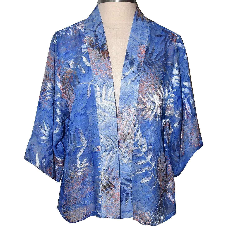 Elegant Silk Chiffon Fern Blue Kimono Jacket Mail order cheap NEW Style