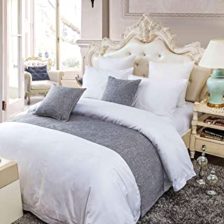 OSVINO Simple Solid Color Polyester Cotton Bedroom Guesthouse Bedding Protection Decor Bed Scarf Runner, Gray, CA King