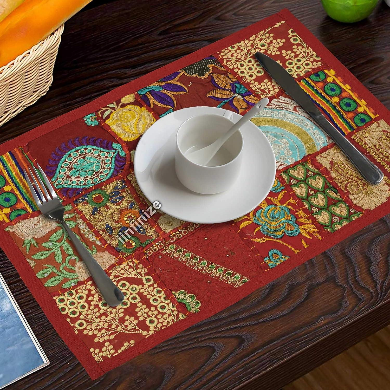 iinfinize Juego de 6 manteles individuales hechos a mano de 30 x 45 cm, diseño de patchwork, para sala central de comedor, camino de mesa Khambadiya