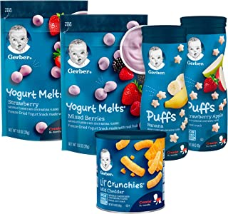 Gerber Up Age Snacks Variety Pack - Puffs, Yogurt Melts & Lil Crunchies, 9Count