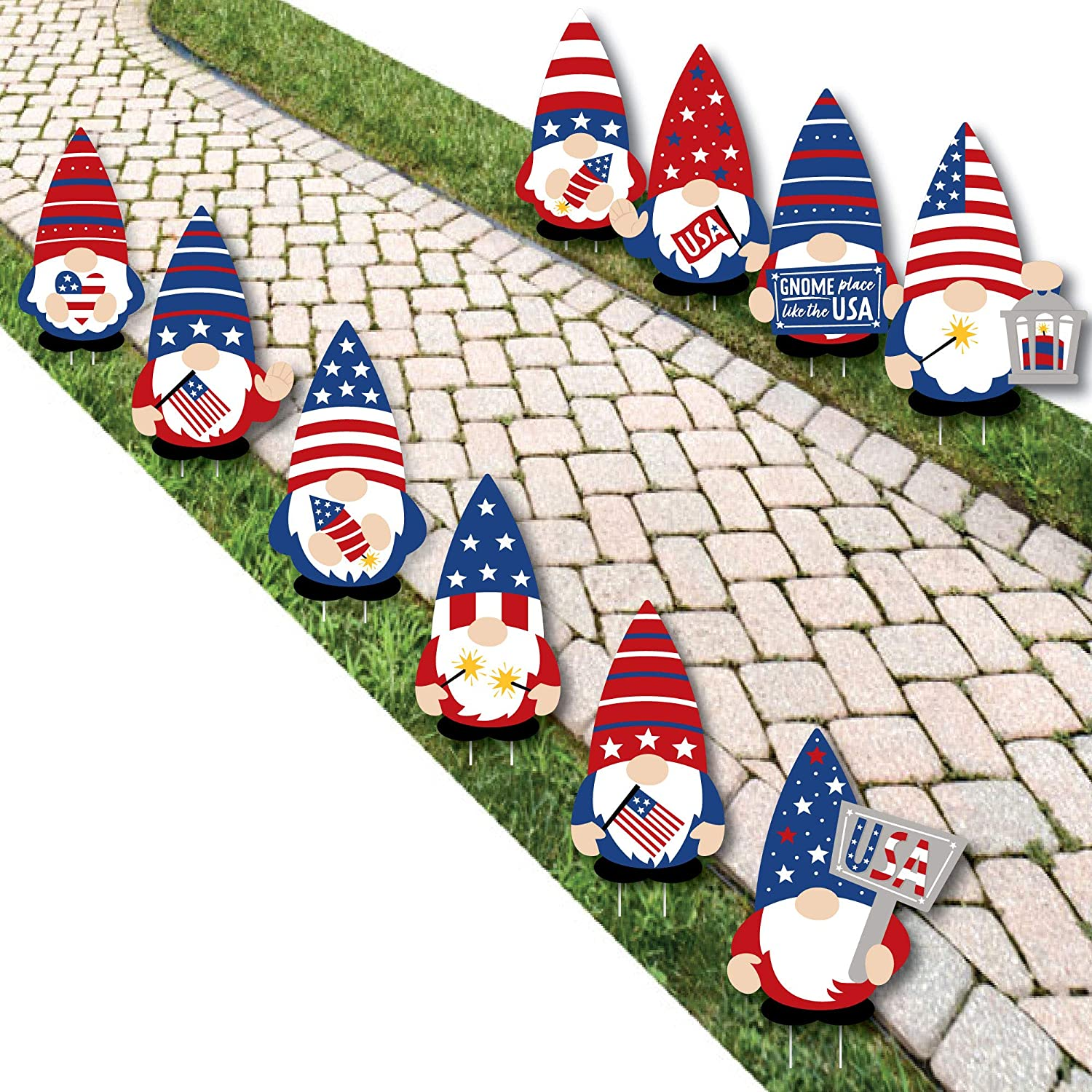 Big Dot of Happiness Patriotic Outdo - famous 55% OFF Decorations Gnomes Lawn
