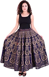 Handicraft-Palace Blue Gold Peacock Mandala Printed Cotton Long Women's Skirt High Waist for Woman/Girls