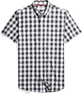 Amazon Brand - Goodthreads Men's Slim-Fit Short-Sleeve Gingham Plaid Poplin Shirt
