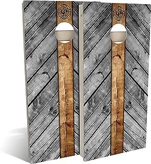 Slick Woody's All Weather Composite 4'x2' Regulation Grey Wood Lines Cornhole Boards Set;