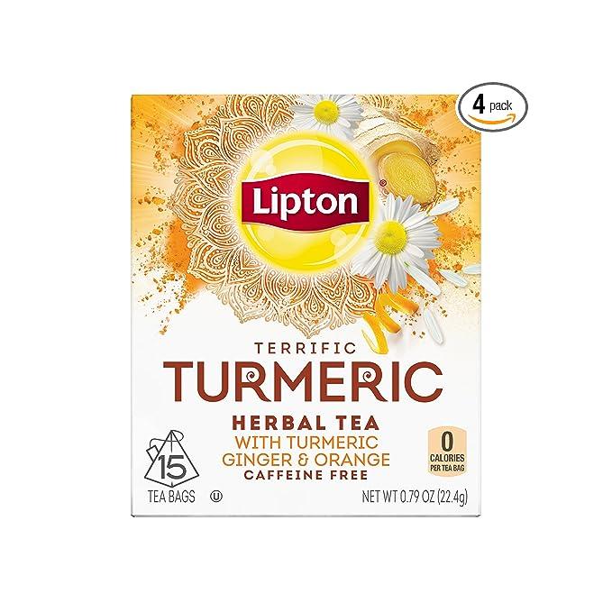 Lipton Herbal Tea Bags Terrific Turmeric 15 Count Pack of 4