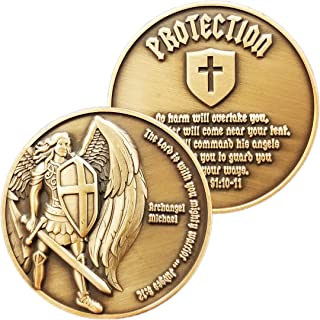 Archangel Saint Michael, Antique Gold Plated Challenge Protection Coin, The Lord is with You Mighty Warrior, Judges 6:12 a...
