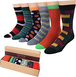 Men's Premium Cotton Blend Fun Cool Colorful Gift Ready Dress Socks (6 Pairs) in a BOX