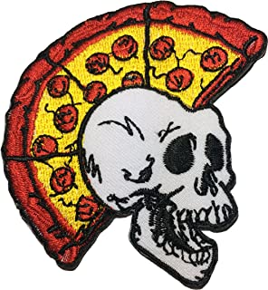 Papapatch Skeleton Skull Pizza Head Punk Ride Motorcycle Chopper Jacket Vest Costume DIY Sew Iron on Embroidered Applique Badge Sign Patch (IRON-SKULL-PIZZA-PUNK)