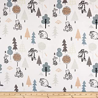 Camelot Fabrics Winnie the Pooh Wonder & Whimsy Forest Friends Bamboo Flannel White Fabric Fabric by the Yard