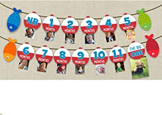 Fishing Milestone Banner Children From Birth to One Year Old Record Photo Banner Set of 1