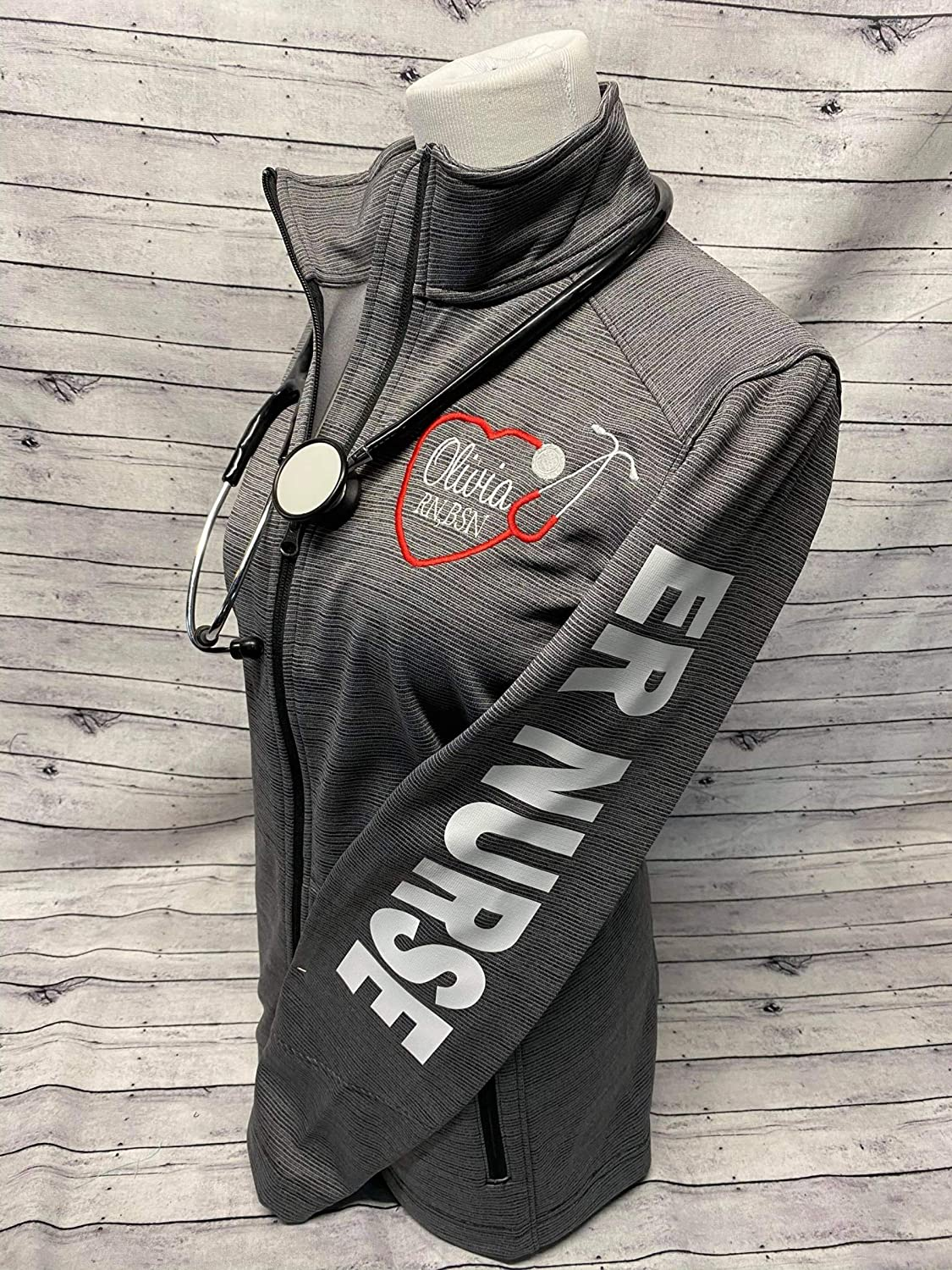 Women's ER Nurse Fleece Safety and trust Jacksonville Mall Jacket Personalized Zipper with N Full