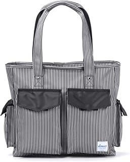Teacher Utility Tote Bag with Multiple Pocket Canvas Stripes Handbag for Nurses and Soccer Moms (Black)