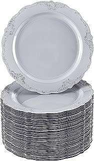 40 Premium Reusable Plastic Dinner Plates | Vintage Grey | 10.25