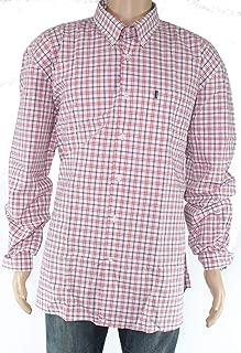 Barbour Mens Dress Shirt Button Front Brice Plaid Print Red 2XL