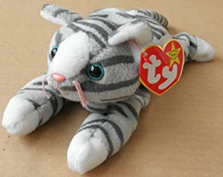 TY Beanie Babies Prance the Cat Stuffed Animal Plush Toy - 8 inches long - Gray with Dark Gray Stripes by Smartbuy