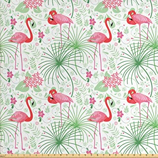 Lunarable Nautical Fabric by The Yard, Floral Pattern Flamingo Botany Greenery Floral Romantic Feminine Design Art, Decorative Fabric for Upholstery and Home Accents, 3 Yards, White Green