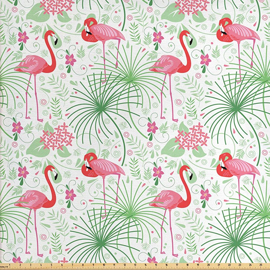 Lunarable Nautical Fabric by The Yard, Floral Pattern Flamingo Botany Greenery Floral Romantic Feminine Design Art, Decorative Fabric for Upholstery and Home Accents, 3 Yards, Green Pink White