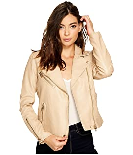 Natural Vegan Leather Moto Jacket in Natural Light