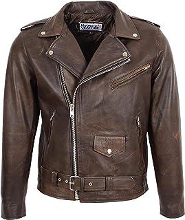 Mens Leather Biker Brando Jacket Popular Zip Up Style Kyle Brown Antique