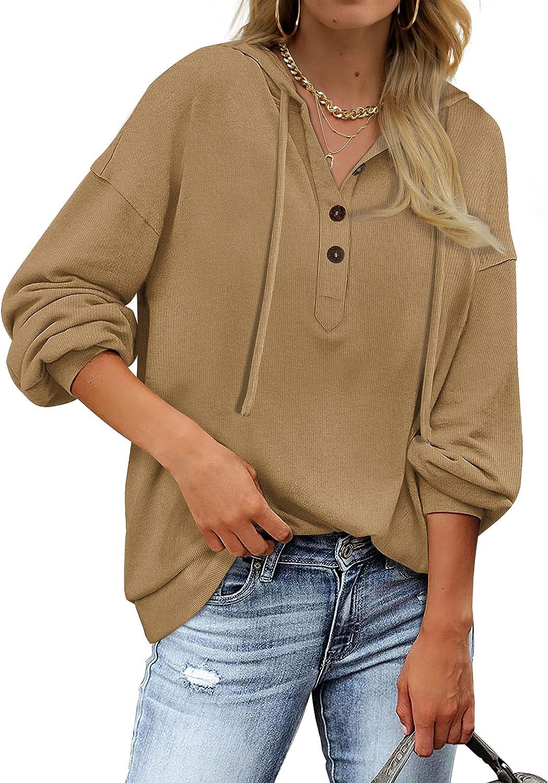 Saloogoe Womens Sweatshirts and Hoodies V Neck Hooded Tops Button Henley Shirts Khaki M