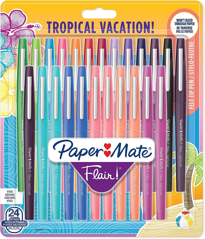 Paper Mate Mate Mate Flair-Filzstifte, mittlere Spitze, tropische, sortierte Farben, 24er-Packung B0716J81VY         a18317