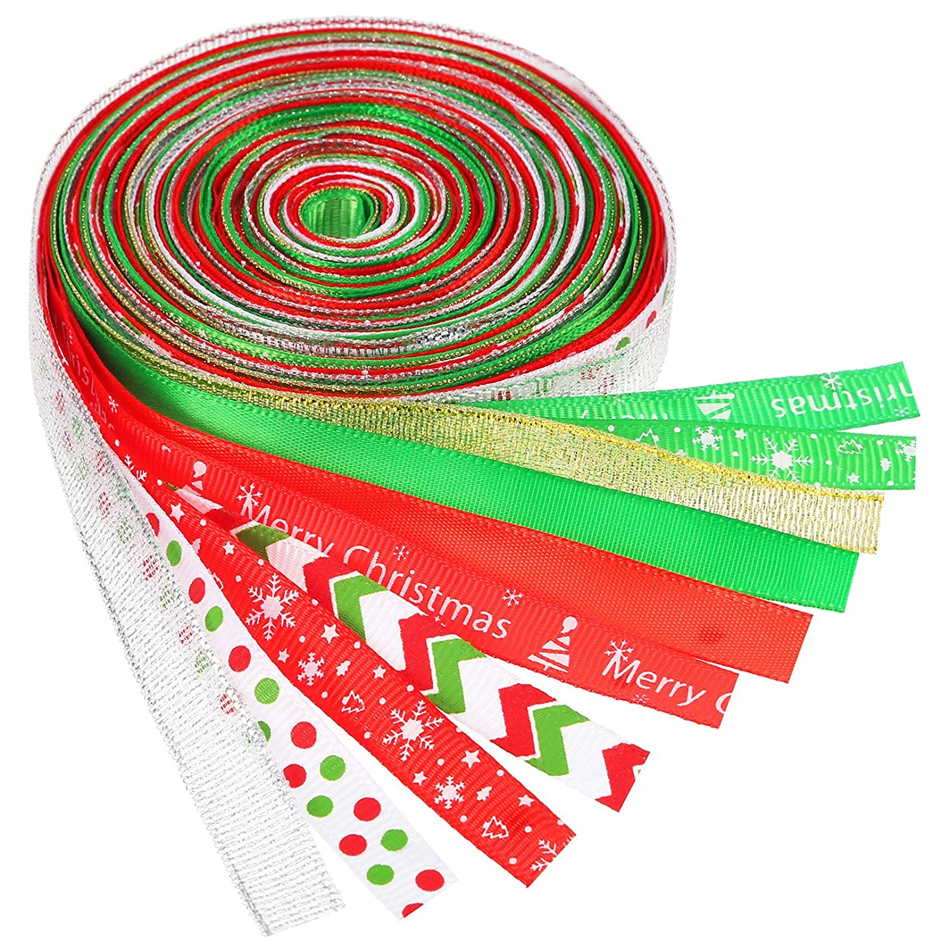 BBTO 10 Pieces Christmas Grosgrain Ribbon Winter Holiday Ribbon for Gift Wrapping lpf6862641