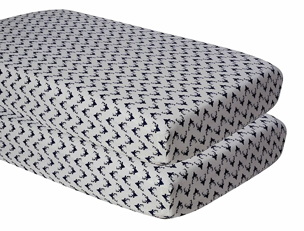Bacati Aztec/Tribal Crib/Toddler Bed Fitted Sheets Cotton Muslin 2 Piece, Buck/Navy