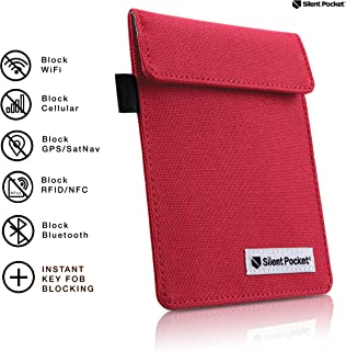 Silent Pocket Signal Blocking Faraday Key Fob Case - Car Anti Theft Device Shielding Against All Signal Types, Including RFID Blocking & Durable Faraday Bag, Fits Most Car Keyfobs (Red, X-Small)