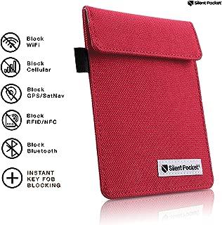 Silent Pocket Signal Blocking Faraday Key Fob Case - Car Anti Theft Device Shielding Against All Signal Types, Including RFID Blocking & Durable Faraday Bag, Fits Most Car Keyfobs (Red)