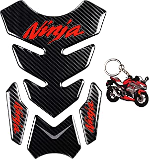 REVSOSTAR 5D Real Carbon Fiber, Motorcycle Decal Vinyl Tank Protector, Tank Pad with Keychain for Ninja 650 ZX636 ZX600 ZX-10R ZX14 ZX1400 ZX14R ABS 1000 ZX100, 2 Pcs Per Set (Red)