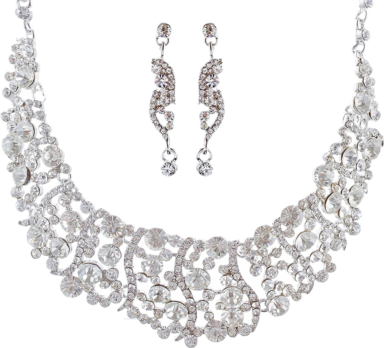 Accessoriesforever Opening large release Brand new sale Women Bridal Wedding Set Jewelry Cry Necklace