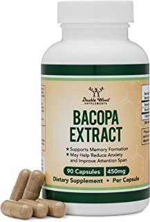 Bacopa Monnieri Capsules – 450mg, 90 Count (Made in USA) Non-GMO, Gluten Free, Concentrated 20% Bacosides Brahmi Extract by Double Wood Supplements