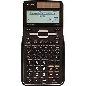 Sharp EL-W516TBSL 16-Digit Advanced Scientific Calculator with WriteView 4 Line Display, Battery and Solar Hybrid Powered LCD Display, Black & White, Black and Silver, Model Number: ELW516TBSL