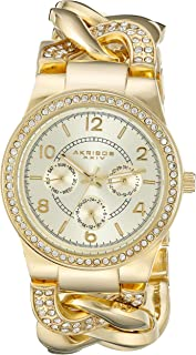 Akribos XXIV Women's Gold Multifunction Crystal Jewelry Watch - Sunburst Dial With Day and Date Subdials - Luminous Hands - Chain Style Crystal Bracelet - AK558