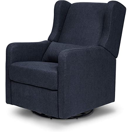 Carter's by DaVinci Arlo Recliner and Swivel Glider in Performance Navy Linen, Water Repellent, Stain Resistant Fabric, Greenguard Gold Certified
