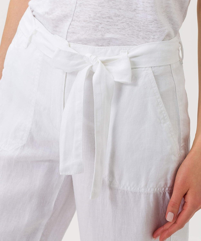 BRAX Maine S Linen Love Pantalon Femme Blanc (White 99)