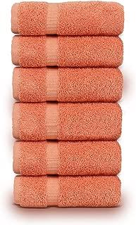 TURKUOISE TURKISH TOWEL Premium Quality 100% Turkish Cotton Eco-Friendly Hand Towels (Set of 6, Coral)