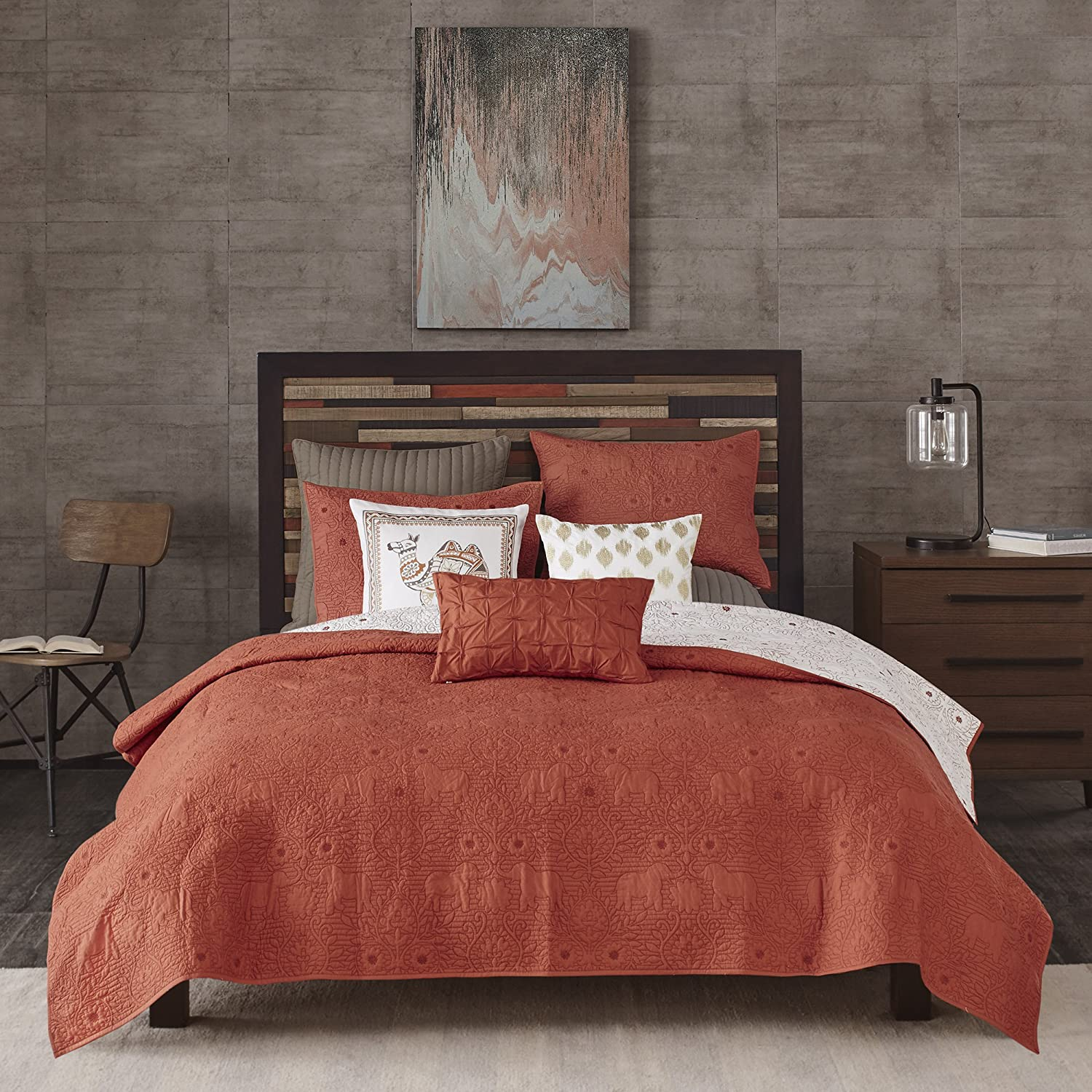 Ink+Ivy Kandula King/Cal King Size Quilt Bedding Set - Dark Orange , Quilted Floral, Elephants – 3 Piece Bedding Quilt Coverlets – 100% Cotton Percale Bed Quilts Quilted Coverlet