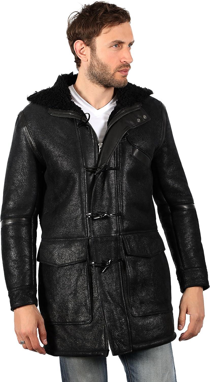 Men's Black Sheepskin Leather Hooded Duffle Coat