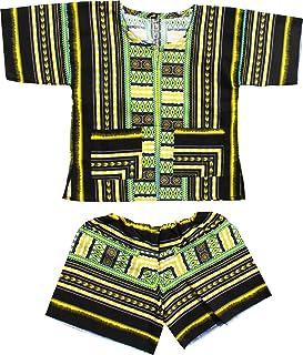 raanpahmuang Childrens Unisex Afrikan Dashiki Juego de pantalón corto y camisa parche algodón