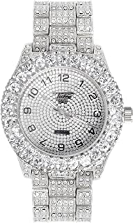 Mens 44mm Iced Out Solitaire Bezel Analog Watch with Adjustable Metal Band and Simulated Crystals - Quartz Movement