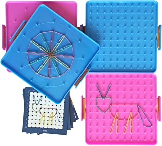 6.2 Inch Double Sided Assorted Pattern Geometric Learning Boards Set of 4 with 5 Instructions Design Cards